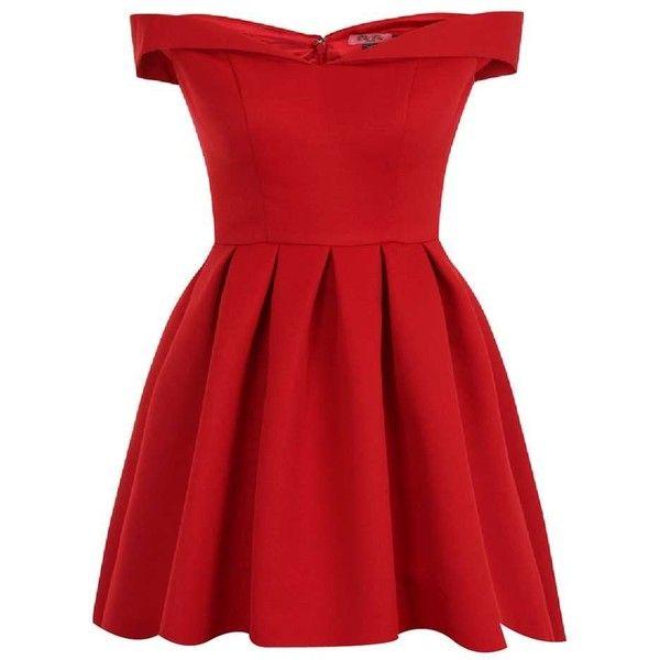 **Chi Chi London Petite Red Bardot Mini Dress (2,080 EGP) ❤ liked on Polyvore featuring dresses, vestidos, red, petite, mini dress, red dress, short red dress, petite dresses and petite red dress