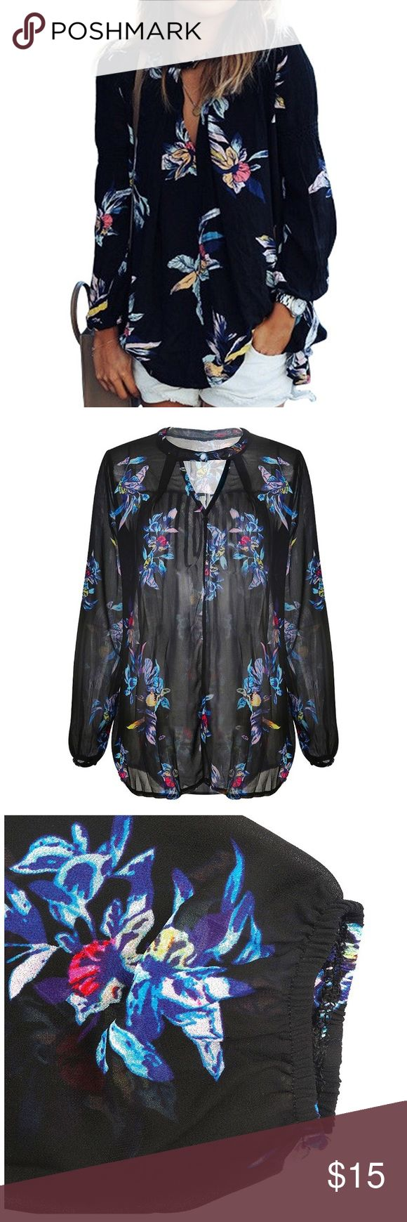 NWOT black floral chiffon blouse NWOT black floral chiffon blouse! Beautiful pattern. Purchased brand new and the size wasn't for me. Not able to return it without a large return processing fee. Open to reasonable offers. :) Tops Blouses