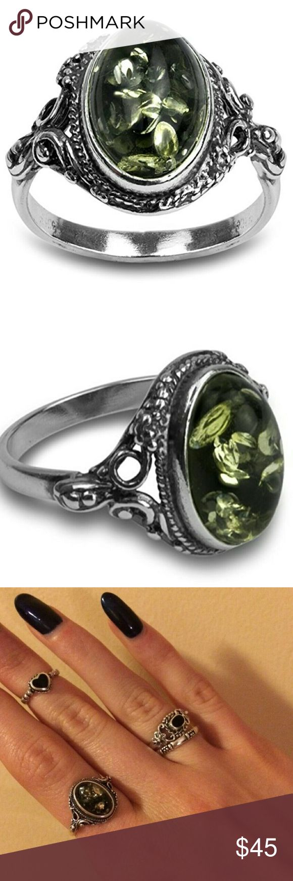 Baltic Sea Green Amber Sterling Ring Amber helps to balance the emotions, clear the mind and release negative energy. It aids manifestation, eases stress by clearing phobias and fears, and it is a lovely warm stone to wear. It is a Potent Healer.   925 Sterling with an Antique Look setting Green (flakes have hints of yellow) Baltic Sea Amber  Height0.30 inches Width0.55 inches Stone Weight: 5 ct Stone Treatment Method: Heat&High-pressure, polish. True to size Comes in box  Tags: healing…
