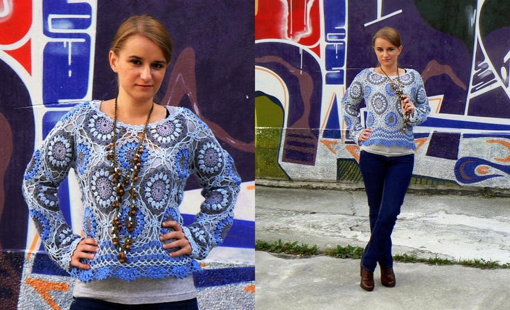 Crochet sweater with colorful elements in the style of the 70's.