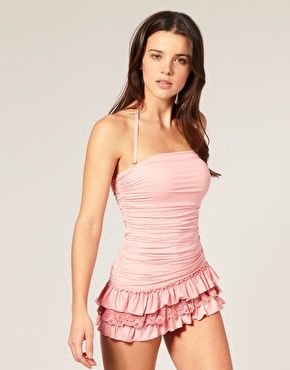Juicy Couture Ruffle Bandeau Swim Dress.  Maybe in a soft navy blue or lavender.