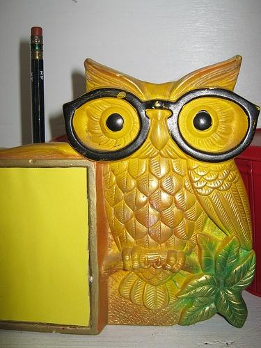 vintage chalkware owl