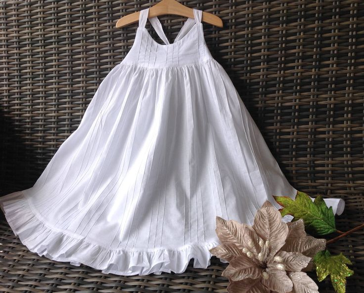 Girls size 4 white cotton dress by Willowhousehomemade on Etsy