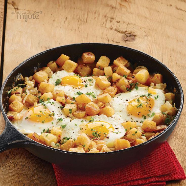 Poêlée d'œufs et de pommes de terre rissolées #recette