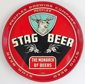 Vintage - Peoples Brewing Co of Deluth - Minnesota - USA - Stag Beer - ''The Monarch of Beers'' - Tray - 1944