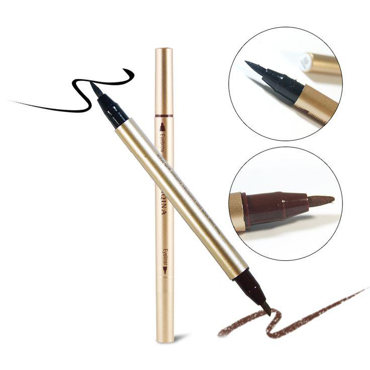 Double-use Waterproof Eyebrow Enhancer Brown Black Cosmetic Makeup Pen With Waterproof Liquid Eyeliner Longlasting eyes tools