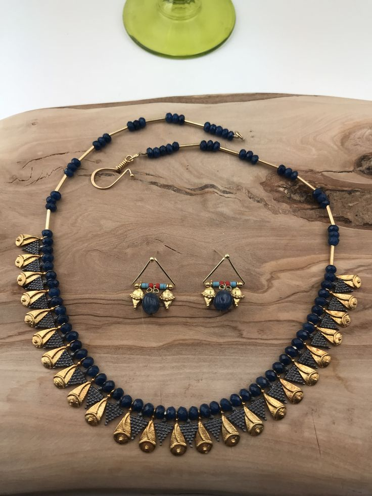 Necklace and Earrings set silver&goldplated with saphire stones