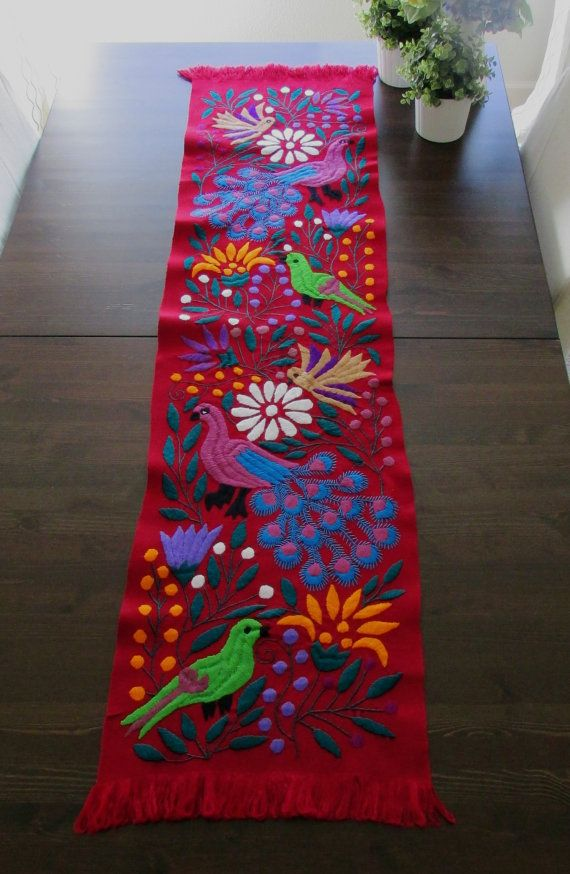 Table Runner Red Color Mexican Textile hand by ArteDeMiTierra
