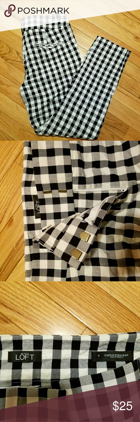 Anne Taylor Loft Gingham Pants Anne Taylor Loft Marisa Straight Leg Pants. Size 4. Only worn a few times, great condition. LOFT Pants Straight Leg