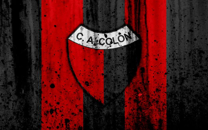 Download wallpapers 4k, FC Colon, grunge, Superliga, soccer, Argentina, logo, Colon Santa FE, football club, stone texture, Colon FC