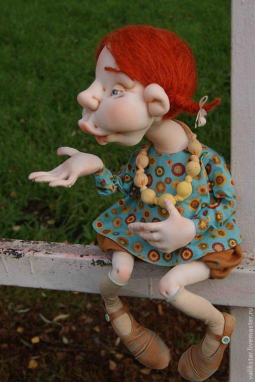 """Купить Авторская текстильная кукла """"Воздушный поцелуй"""" - смешной подарок, текстильная кукла, рыжая девочка"""