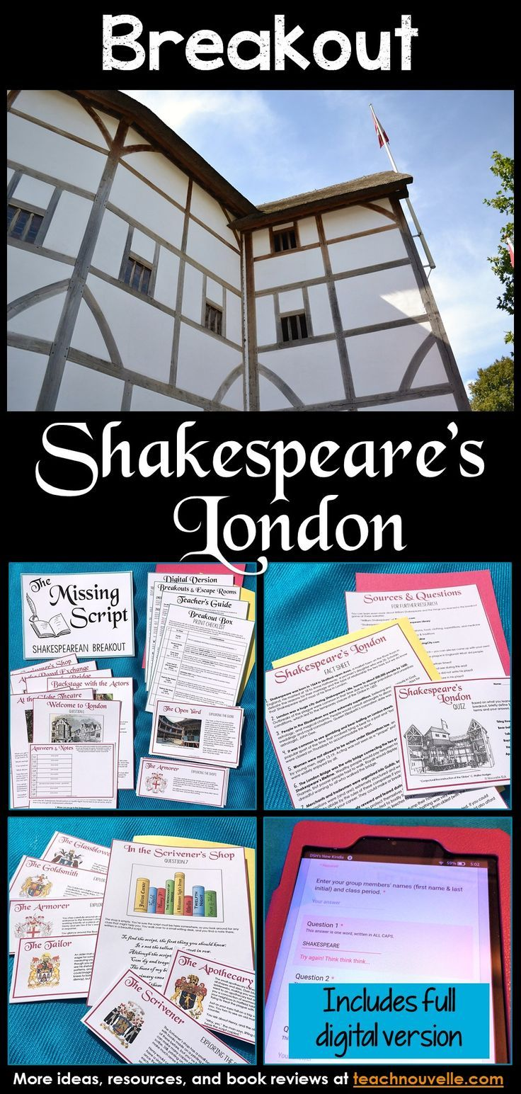 This Introduction to Shakespeare is an Escape Room or Digital Breakout activity. You can present this as a digital activity (using a Google Site & Form), a paper Escape Room, or a blended version of the two. It has been designed to take 45-60 minutes and covers the Globe Theatre, Shakespeare's Life, and Elizabethan London. This resource also includes a complete Teacher's Guide (set-up, printing checklist, differentiation), Elizabethan Fact Sheet, Research Extensions, a quiz, and an Answer…