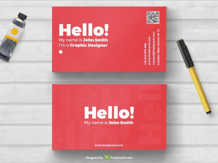 Minimal red business card template - Freebcard