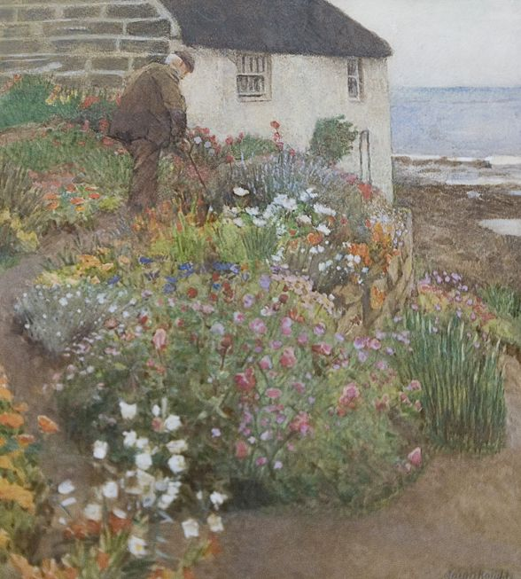 Laura Knight. Watercolor. 16x13 Lady Palmer's Gardener