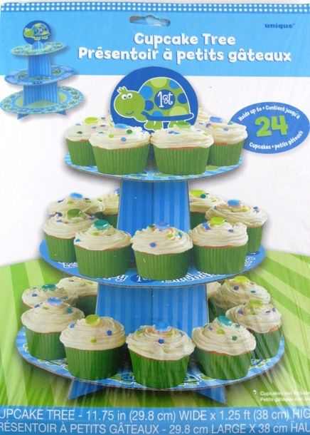 Turtle 1st Birthday 3 Tier Cardboard Cupcake Tree Stand Holds Up To 24 Cupcakes
