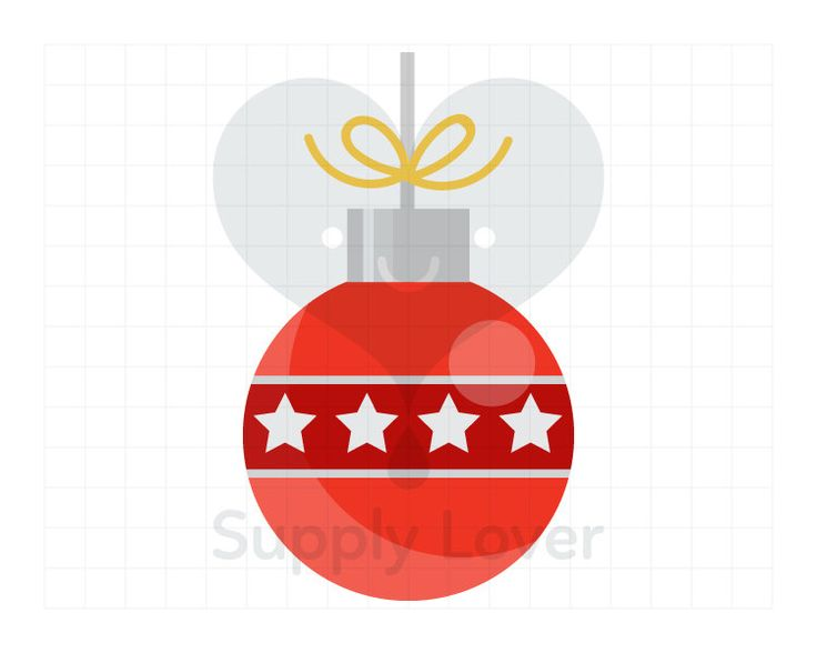RED CHRISTMAS BALL Clip-Art Commercial Use, Christmas, Decoration, Bauble, Star, Silver, Bow, Ornament, Ball, Round, Zig-Zag  - A0020