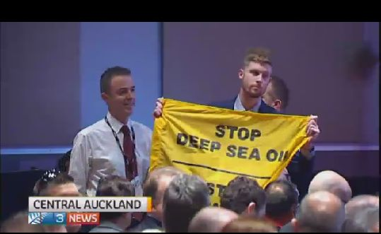 """Activists for sustainable renewable energy used fake security passes to gain entry into a petroleum summit held by Norwegian deep sea oil drillers Stateoil held over the weekend.   """"Statoil needs to go home, we don't want deep sea oil drilling in New Zealand,"""" says protester Abi Smith.  """"I'm not overly worried, you sort of expect come to expect these sort of things,"""" says Mr Bridges, the Energy Minister.  The protesters want more focus on sustainable energy."""