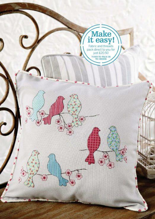 Idea to sew an appliqued birds pillow.