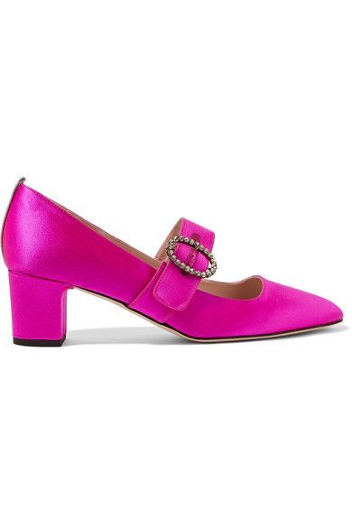 SJP By Sarah Jessica Parker - Tartt Crystal-embellished Satin Pumps - Fuchsia - IT