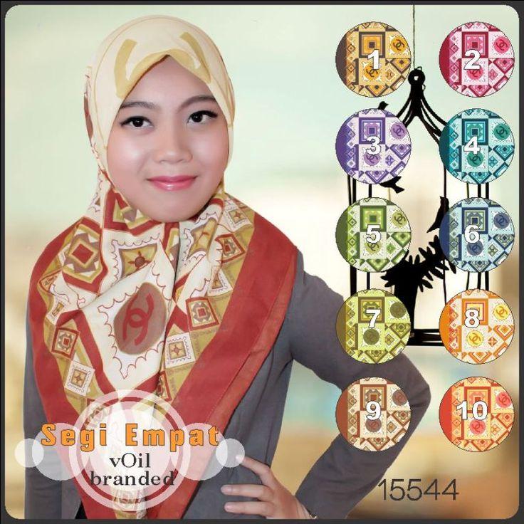 Jilbab Katun Segi Empat Motif Branded Voil 15544