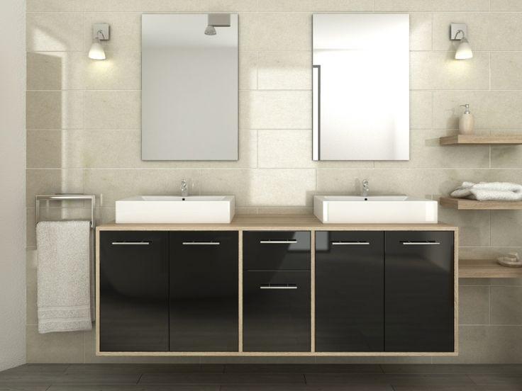 Ensemble de salle de bain kate avec double vasque et for Prix miroir salle de bain