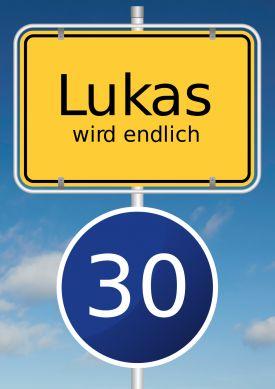 Lustige Einladung mit typisch gelbem Ortsschild und blauem Tempo 30 Schild zum 30. Geburtstag. #Tempolimit#Ortsschild#30#Party#Geburtstag#Einladung#birthday#Einladungskarte#EinladungGeburtstag.de
