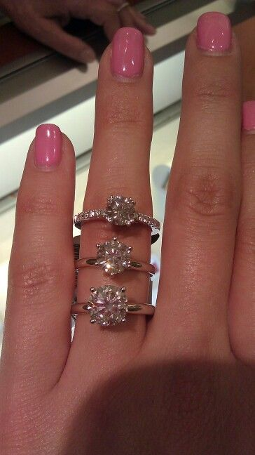 1, 1.5 and 2 carat round diamond solitaire engagement rings