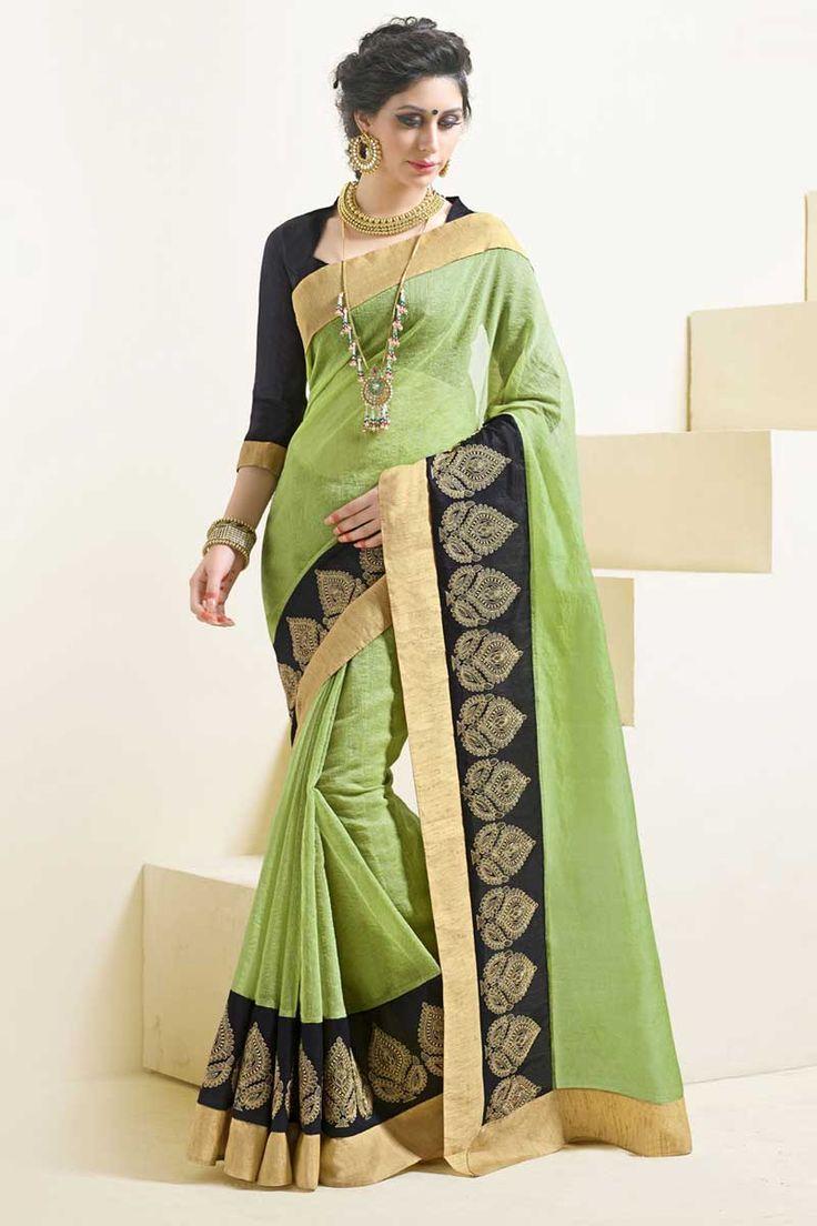 #AndaazFashion presents Green Art Silk Saree with Blouse  http://www.andaazfashion.com.my/womens/sarees/green-art-silk-saree-with-blouse-dmv8544.html
