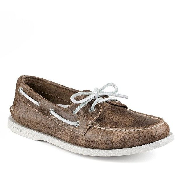 Sperry Leather Boat Shoes ($100) ❤ liked on Polyvore featuring men's fashion, men's shoes, men's loafers, brown, mens brown leather shoes, mens leather deck shoes, mens brown shoes, mens leather lace up shoes and mens deck shoes