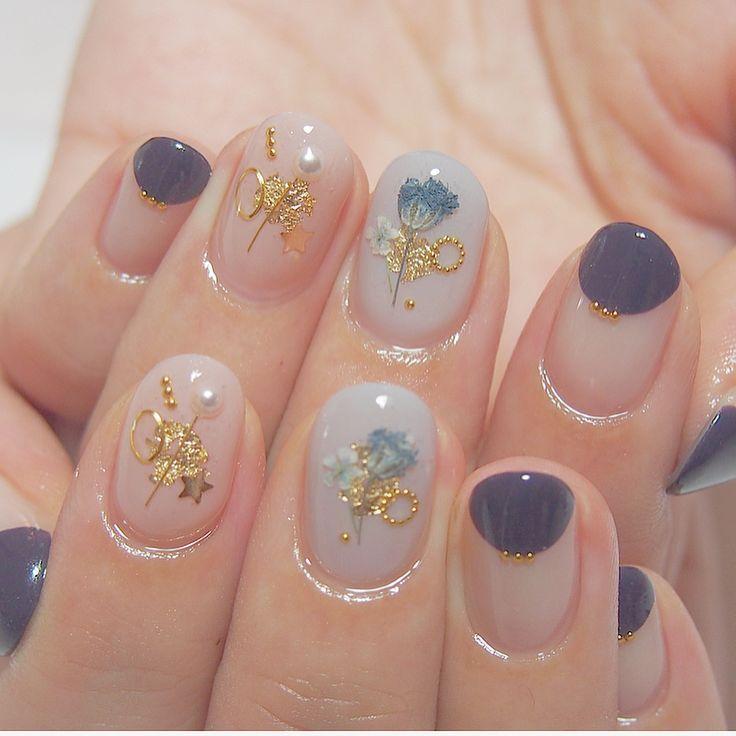 箔と押し花やワイヤーのデザインとても人気です。○ ✨ありがとうございました☺️#ショートネイル#押し花ネイル