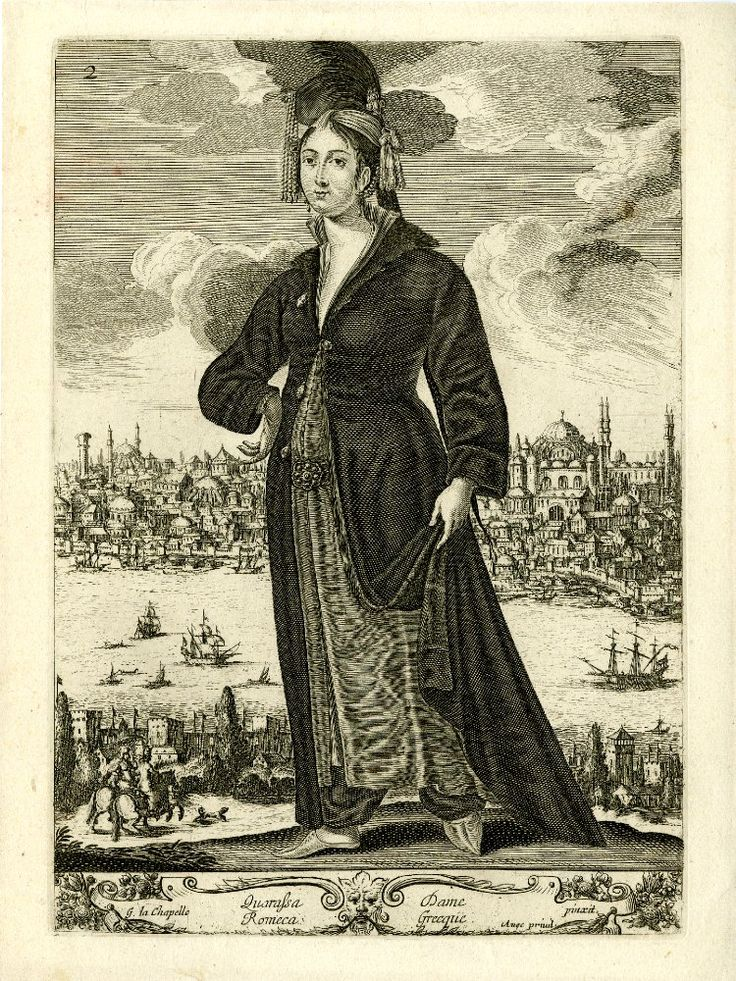 Standing woman, in Greek costume, with turban adorned with pearls and feather, long dark coat, skirt and baggy breeches; in the background, a view of Constantinople; after La Chapelle. c.1648 Etching