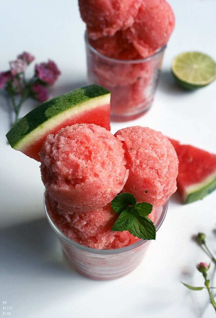 Watermelon Mint Sorbet (raw, vegan)