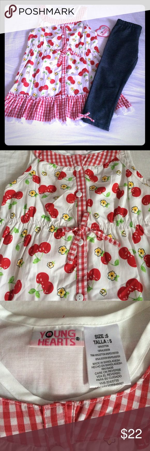 🍒NWT Young Hearts Cherry Outfit🍒 Super cute spring/summer outfit that includes sleeveless cherry print tunic with plaid print trimming & coordinating capri jeggings. NWT! Size 5. Smoke FREE home as always! 💕 PRICE FIRM Young Hearts Matching Sets