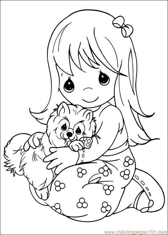 Precious Moments coloring - girl with  puppy