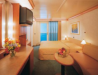 Carnival Cruises Spirit cruise ship balcony cabin. Just like we had except with the twin beds