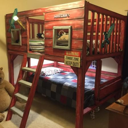 I want to build this for Owen, but a clubhouse look. not the zombie/minecraft theme. The upper level can be just for play until he is ready for a full size bed.