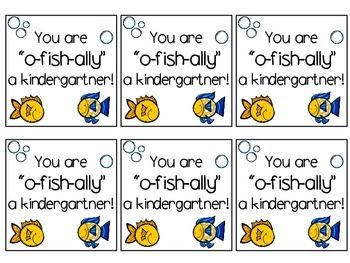 """FREEBIE back to school treat labels. """"You are o-fish-ally a..."""" Kindergarten through fifth grade."""