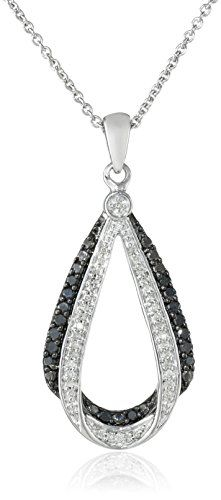 #blackdiamondgem #carbonado Sterling Silver and Black and White Diamond Pendant Necklace (0.25 cttw, ), 18″ by Amazon Collection http://blackdiamondgemstone.com/jewelry/necklaces/pendants/sterling-silver-and-black-and-white-diamond-pendant-necklace-025-cttw-18-com/
