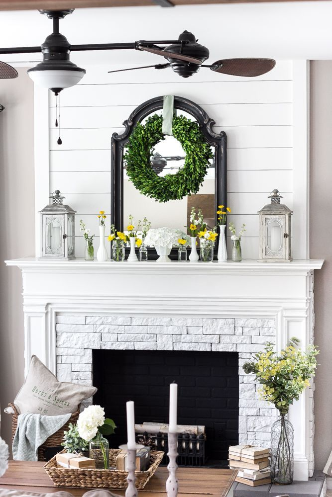 White mantle fireplace and Fireplace redo