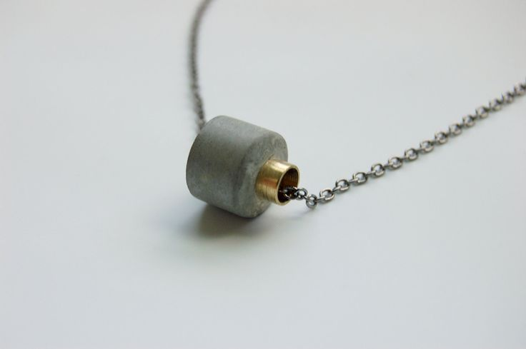 Concrete and Metal Necklace - Cement and Brass Jewelry. $36.00, via Etsy.