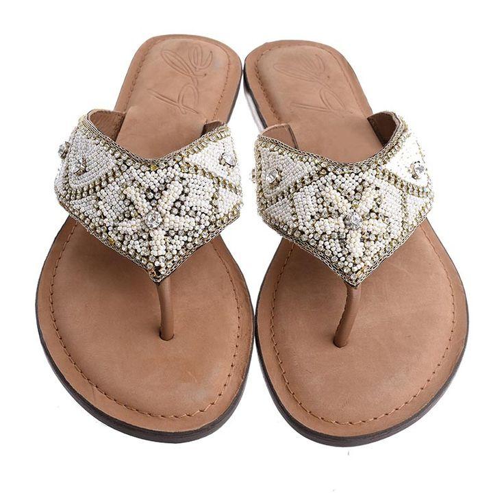 LEATHER SANDAL- GOLD COLOR - Sandals