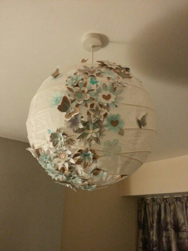 paper flowers lamp shade party ideas pinterest. Black Bedroom Furniture Sets. Home Design Ideas