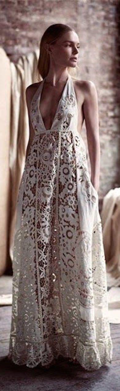 Summer Valentino White Lace Maxi Dress