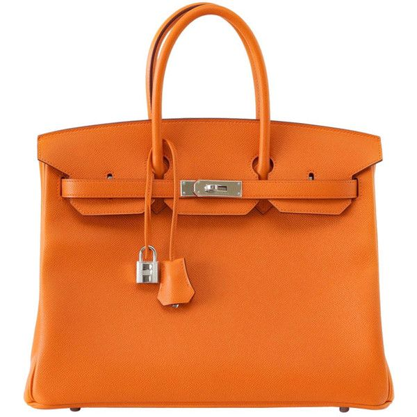 Pre-owned HERMES BIRKIN 35 Bag H Orange Epsom palladium hardware ($32,500) ❤ liked on Polyvore featuring bags, handbags, hermes, purses, handbags and purses, hermes birkin bags, top handle bags, pre owned handbags, leather bags and hermes purse
