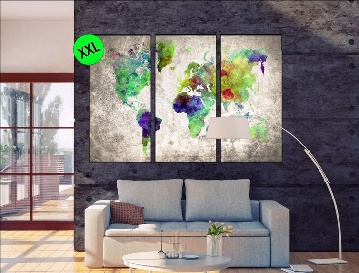 large world map poster canvas wall art print. Large world map poster One or three panel world map art print on canvas by Worldmapcspecialist on Etsy https://www.etsy.com/listing/271029502/large-world-map-poster-canvas-wall-art