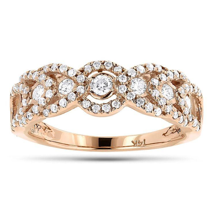 Unique Diamond Wedding Band For Women 14K Gold Ladies Diamond Ring 1ct