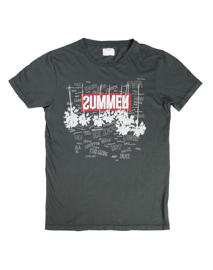 SWIMMERS T-SHIRT MAN - T-shirt in cotone nero con stampa palme nera e rossa nella parte frontale. #tradingcompany #losangeles #weareartisans #leather #handmade