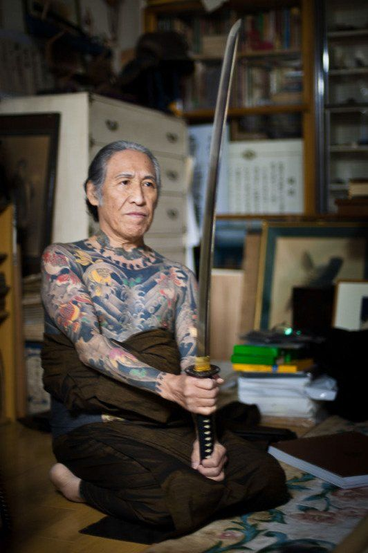 To start this off, here's Master Horiyoshi III with his Samurai sword, reppin a full bodysuit of Irezumi. More about him on his official site http://www.horiyoshi3tattoo.com Kofuu-Senju-publications-Horiyoshi-3irezumi-japanese-tattooAlex-Reinke-486-of-500