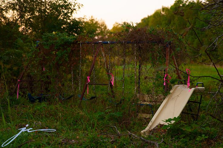 This I think was the saddest sight I came accross. An abandoned swing set all entwined with vines. What dreams were dreamt here, what dreams were lost here?