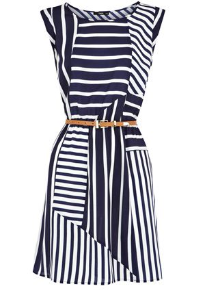 love the stripe change up to trace the eye down the figure // Stripe Belted Tunic Dress